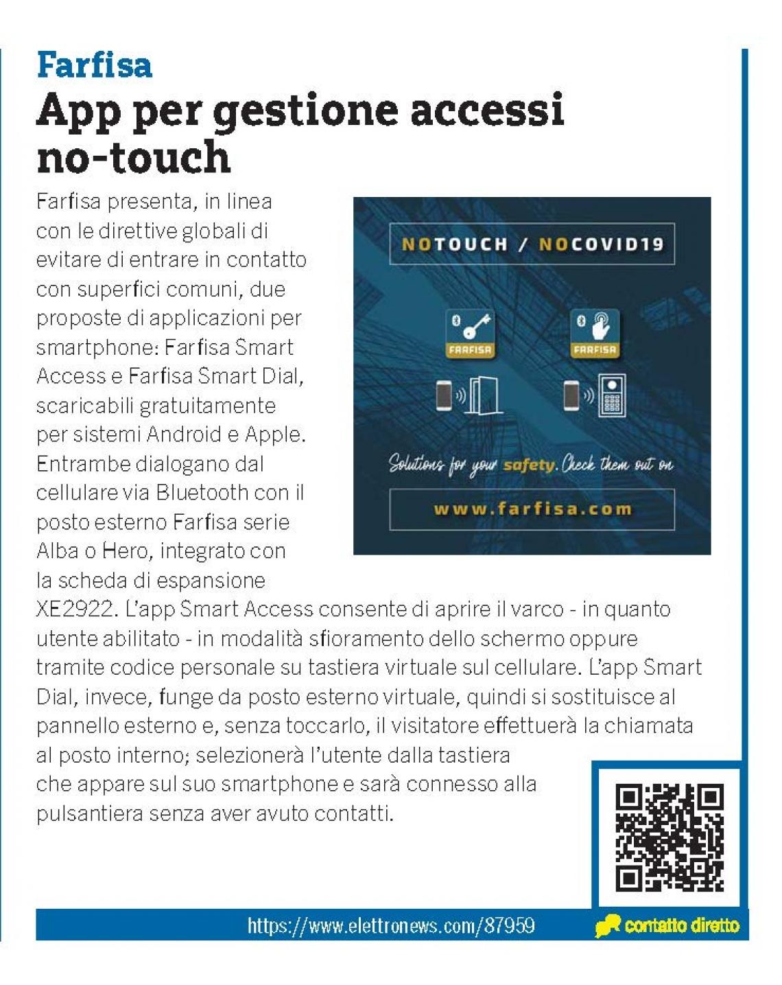 App per gestione accessi no-touch