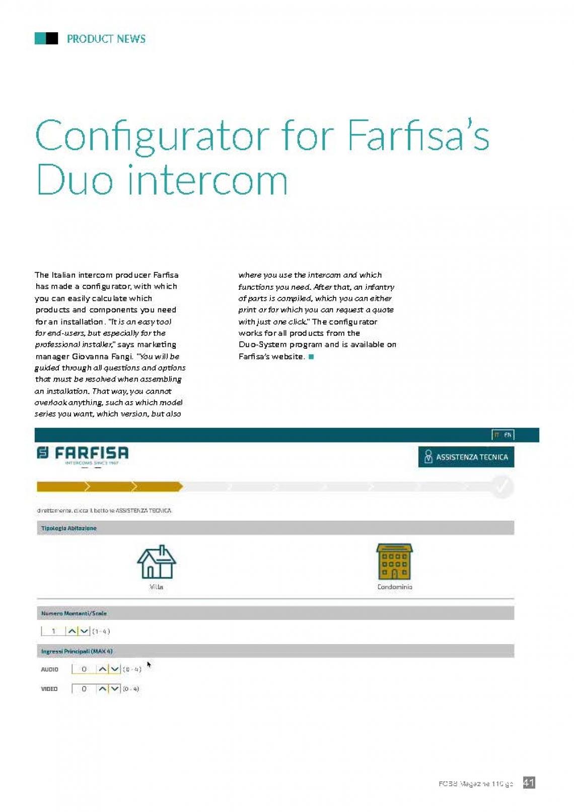 Configurator for Farfisa'Duo intercom