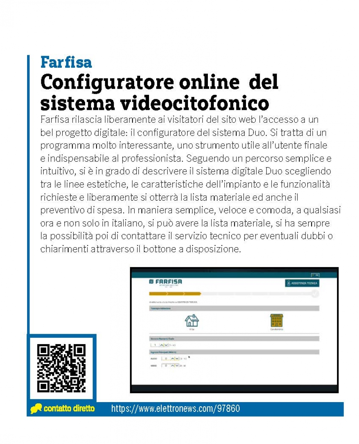 Configuratore online sistema videocitofonico