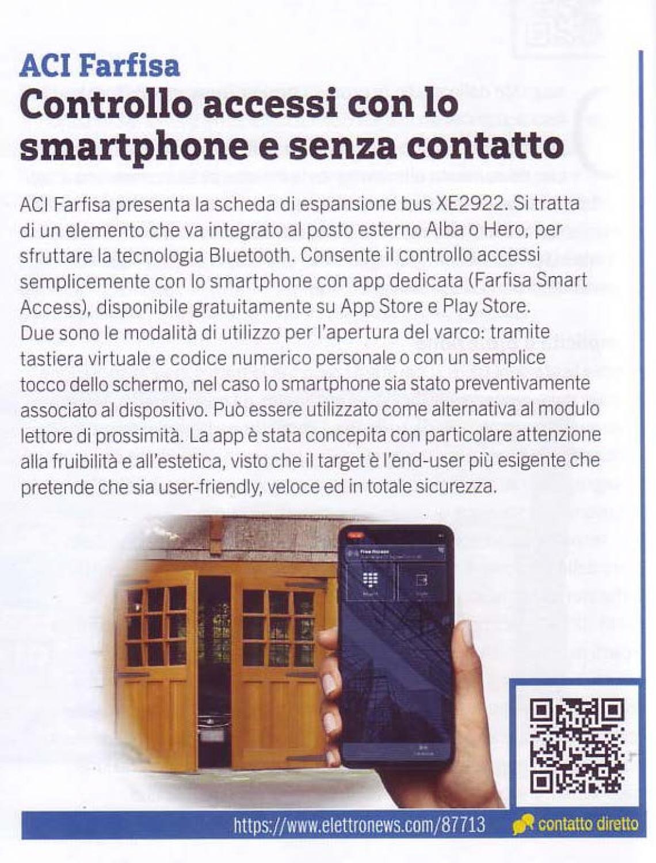 Controllo accessi con lo smartphone e senza contatto