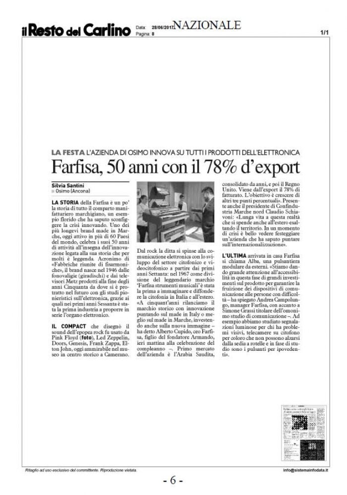 Farfisa, 50 anni con il 78% d'export