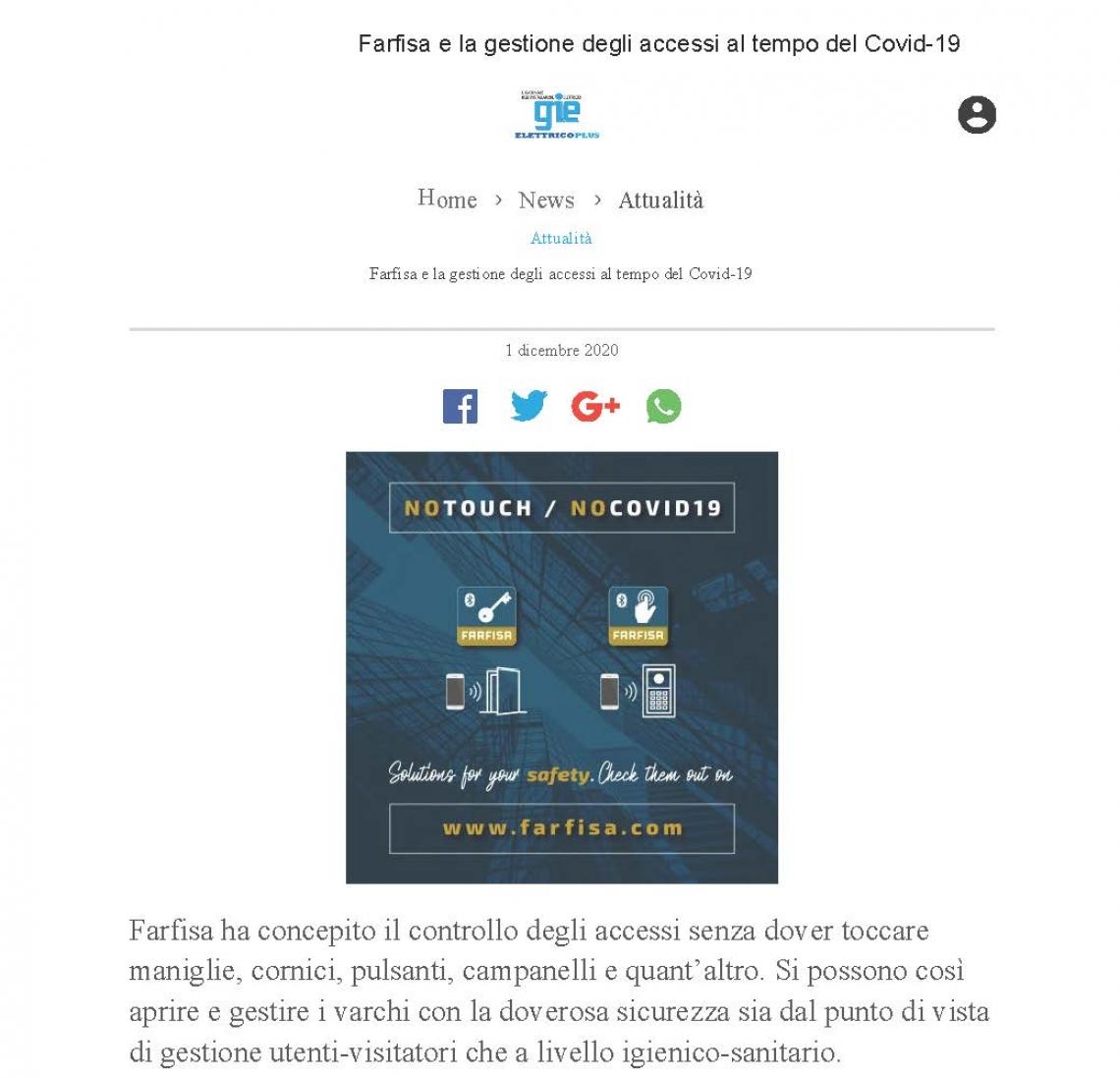 Farfisa e la gestione degli accessi a tempo di Covid-19