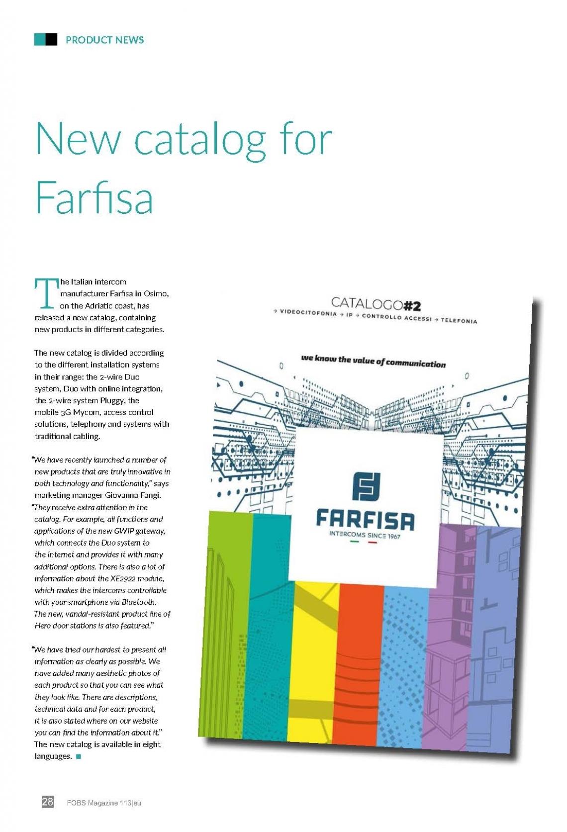 New Catalog for Farfisa
