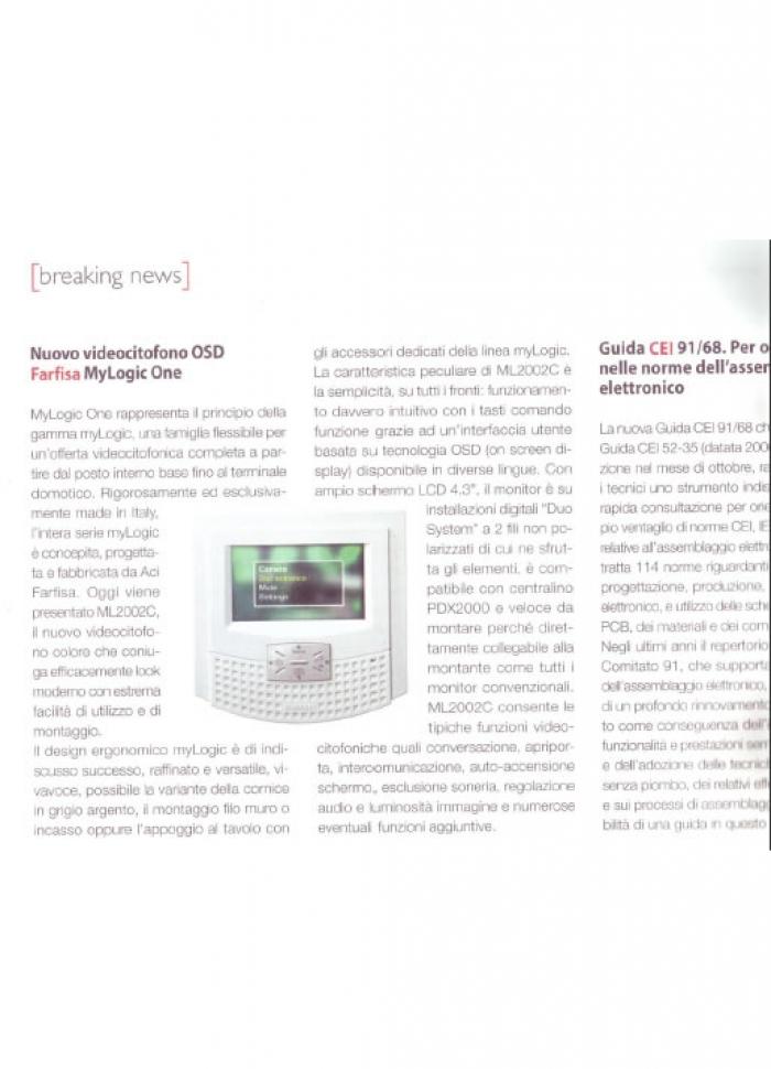 Nuovo monitor myLogic ONE con tecnologia OSD