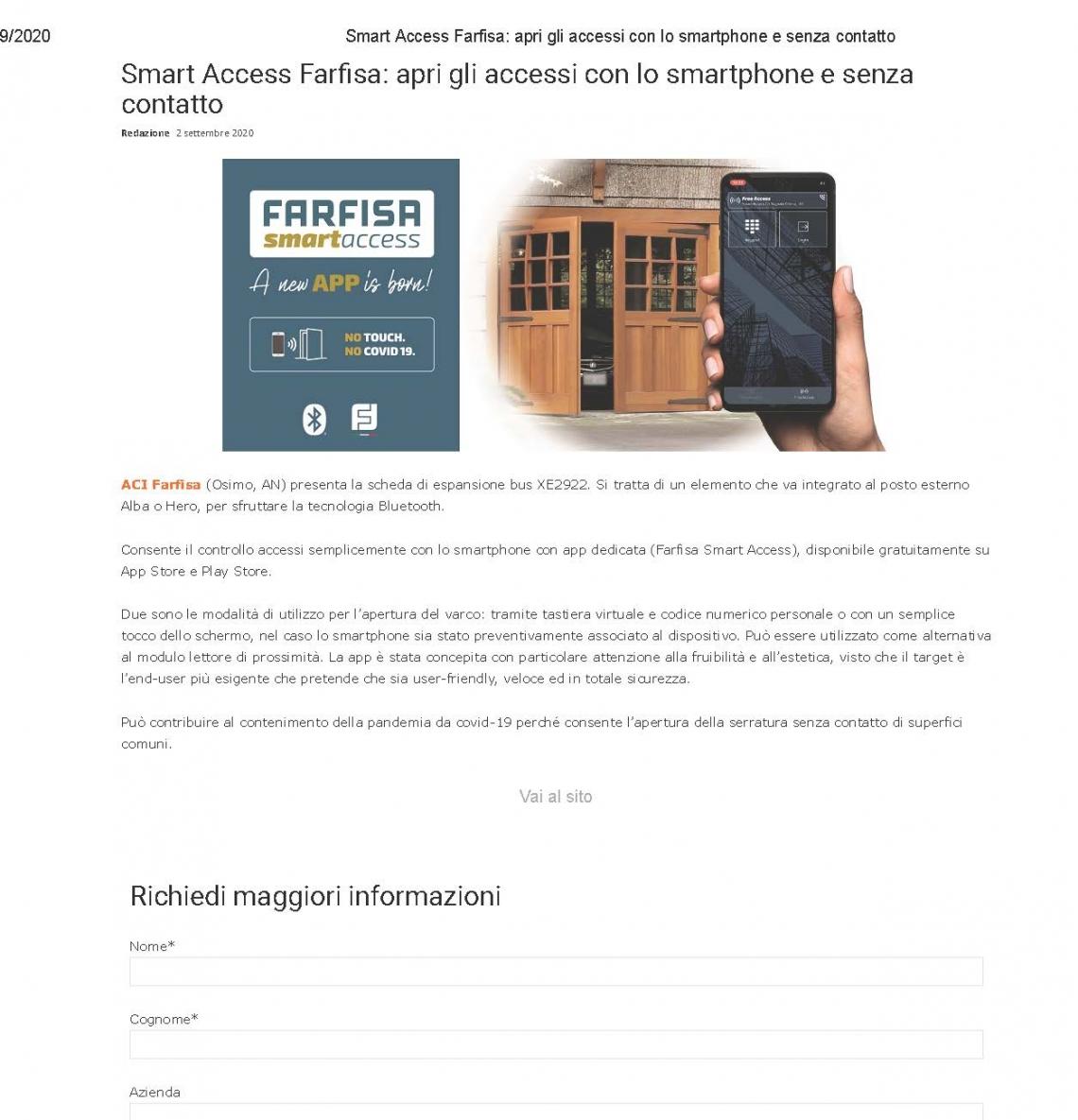 Smart Access: apri gli accessi con lo smartphone e senza contatto
