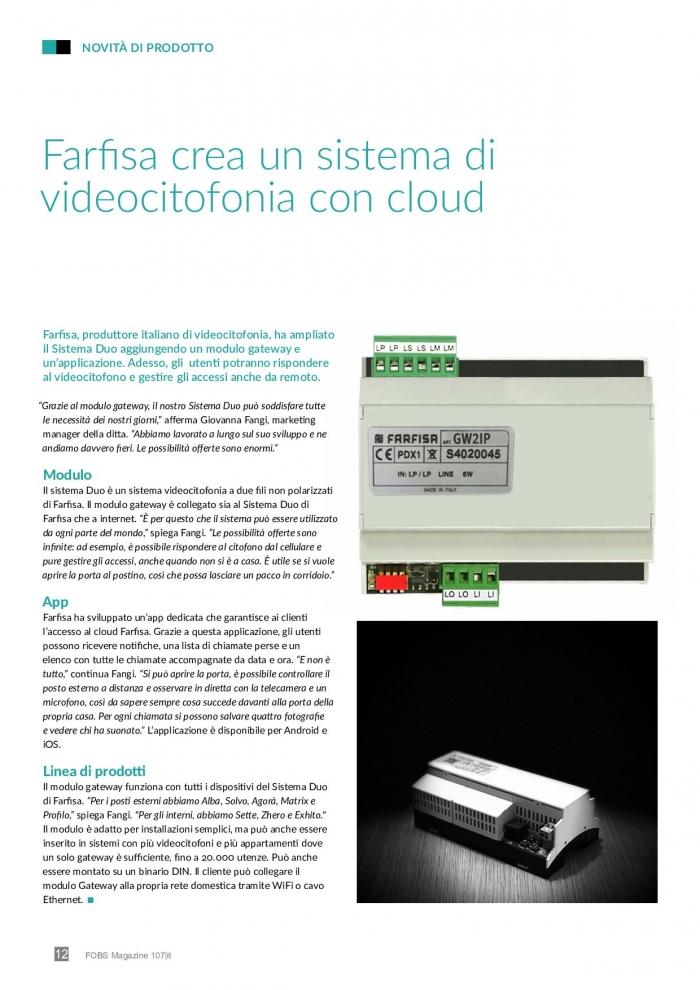 Videocitofonia sul cloud con il gateway Farfisa